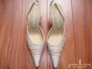 Cymbeline - Escarpins (chaussures) en organza de soie ivoire et rose