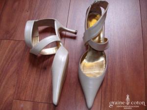 Dejean - Escarpins (chaussures) à larges lanières en cuir ivoire