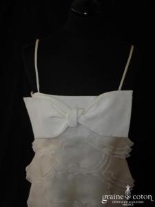Paule Ka - Robe courte à volants d'organza de soie ivoire (bretelles noeud empire)