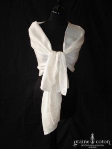 123 Collection Mariage - Étole en mousseline de soie et dentelle ivoire