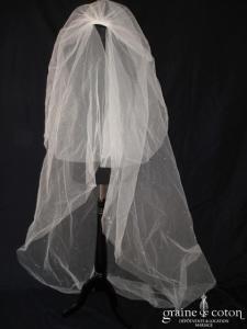 Voile long de 2 mètres en tulle ivoire avec gouttes