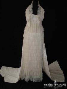 Mariées de Paris - Robe style années 20 en tulle plissé ivoire (taille empire)