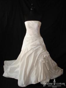 Marylise - Robe taille basse en taffetas drapé ivoire