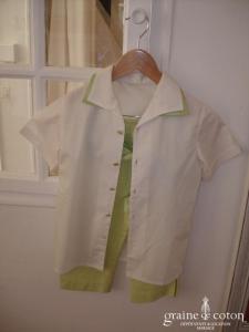 Ensemble petit garçon d'honneur chemise et corsaire vert anis