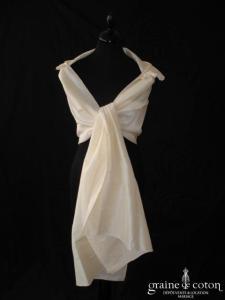 Linéa Raffaëlli - Étole en soie sauvage ivoire avec volant plissé