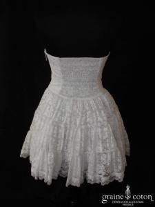 Capuccino - Robe bustier courte en dentelle blanche (taille haute)