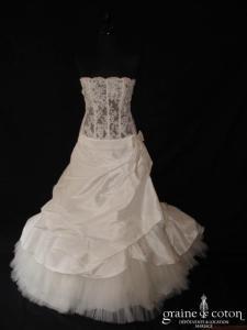 Mariées de Paris - Bustier en dentelle et jupe en taffetas (taille basse avec noeud)