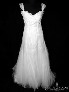 Mariées de Paris - Hevanna (empire tulle plissé bretelles manches dentelle)