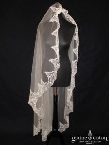 Pronuptia - Voile long de 1,80 mètres en tulle ivoire bordé de dentelle