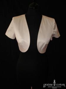 123 - Boléro Rosalie en coton satiné blanc (manches courtes)