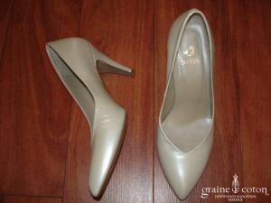 Perlato - Escarpins (chaussures) ivoires en cuir