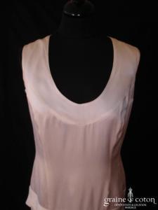 Cara Lotti - Robe courte en soie blanche (bretelles taille basse années 20)
