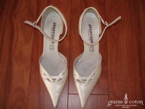 Avant Goût - Chaussures (escarpins) à lanières couleur ivoire nacré