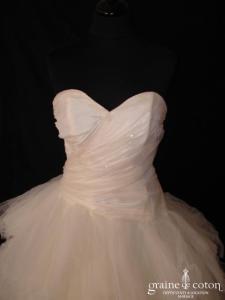Coeur d'amour - Création en taffetas ivoire et mouchoirs de tulle (drapé décolleté coeur)