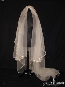 Coeur d'amour - Voile long de 3,30 mètres en tulle ivoire bordé d'un biais pailleté
