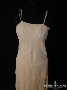 123 - Robe taille empire en mousseline de soie ivoire