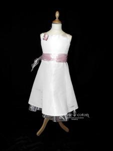 First Casting - Robe de demoiselle d'honneur en taffetas ivoire et organza rose