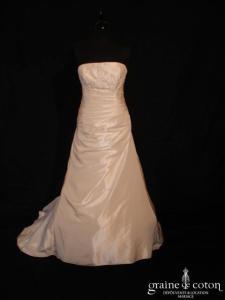 Églantine Création - Robe drapée en taffetas ivoire avec perles