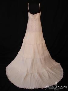 Mariées de Paris - Hébée (tulle empire taffetas plissé bretelles dentelle V fourreau sirène taille basse dos boutonné)