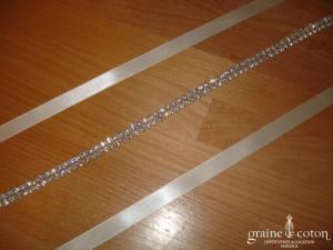 Au fil perlé - Headband en satin ivoire et strass