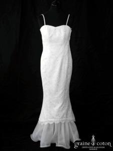 Matrimonia - Robe fourreau ivoire en dentelle et volutes de tulle (sirène bretelles)