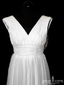 Création - Robe fluide empire en mousseline de soie et tulle de soie ivoire clair (drapé noeud V bretelles)