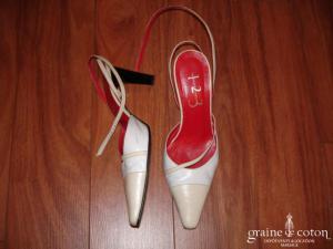 123 - Escarpins (chaussures) beiges et blancs en cuir