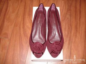 Eden shoes - Ballerines bout ouvert en nubuck bordeaux