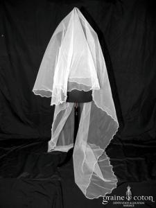 Pronuptia - Voile long de 2,80 mètres en tulle ivoire surjeté
