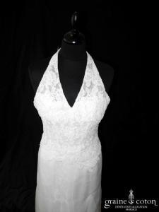 Mariées de France (Cymbeline) - Robe en dentelle, crêpe et organza ivoire (bretelles tour de cou droite)