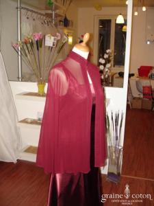 Nitya - Cape tunique en mousseline de soie bordeaux (non stocké en boutique, essayage sur demande)