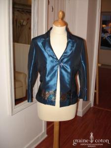 Antonelle - Veste Mandoline bleu profond moiré (non stocké en boutique, essayage sur demande)