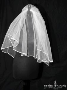Voile mi long en tulle ivoire bordé d'un biais de satin (W12b avec rabat)