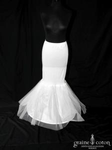 Jupon sirène fourreau en tulle, blanc ou ivoire (H8)