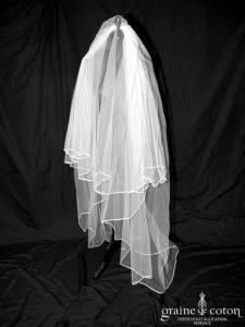Voile long de 2 mètres en tulle ivoire bordé d'un biais de satin (W8 avec rabat)