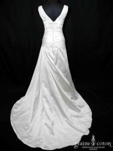 Mariées de Paris - Ivanoé (satin drapé empire bretelles dos-V dos boutonné)