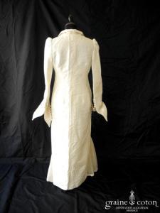 Création - Robe transformable courte / longue et manteau en soie sauvage et brocart