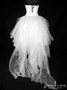 Max Chaoul - Bustier argenté et jupe en mouchoirs de tulle ivoire (dentelle de Calais aluminium)