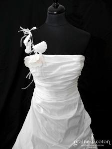 Lambert Créations - Perdita (taffetas drapé tulle blanc peinture rose bretelle)