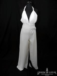 Lambert Créations - Valentine (combinaison pantalon crêpe fluide bretelle tour de cou V)