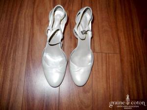 Isabel - Escarpins type salomé (chaussures) en cuir ivoire nacré