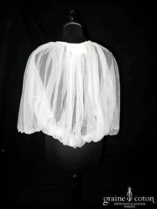 Lanvin collection Blanche - Boléro en tulle de soie ivoire (manches)