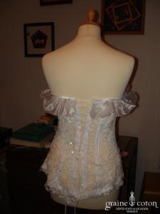 Création Roselyne Desti - Bustier blanc en dentelle de calais
