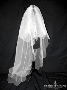 Voile long de 3 mètres en tulle ivoire avec toupies Swarovski