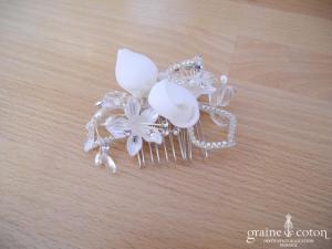 Pronuptia - Peigne avec fleurs en organza, strass et cristaux