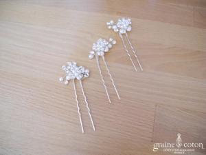 Pronuptia - Lot de 3 pics fleurs en strass et perles ivoires