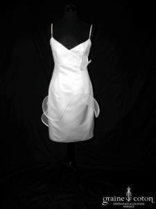 Suzanne Ermann - Modèle 1051 blanc (satin volute tulle courte V bretelles empire)