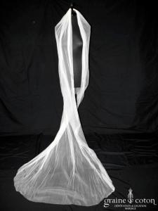 Voile long de 2,80m en tulle de soie ivoire