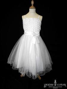 Robe demoiselle d'honneur blanche en tulle plumetis
