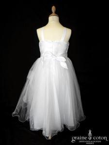 Robe demoiselle d'honneur en taffetas blanc avec noeud et gouttes strass